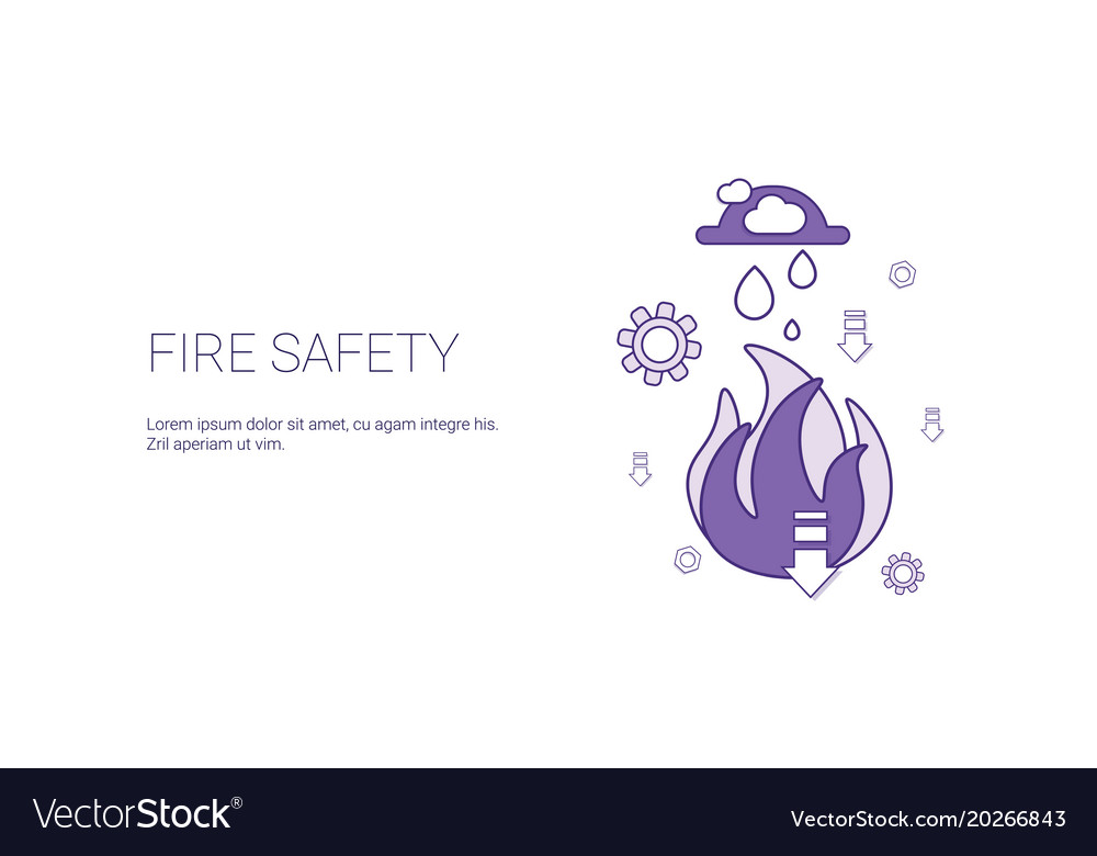 Fire safety technology template web banner with