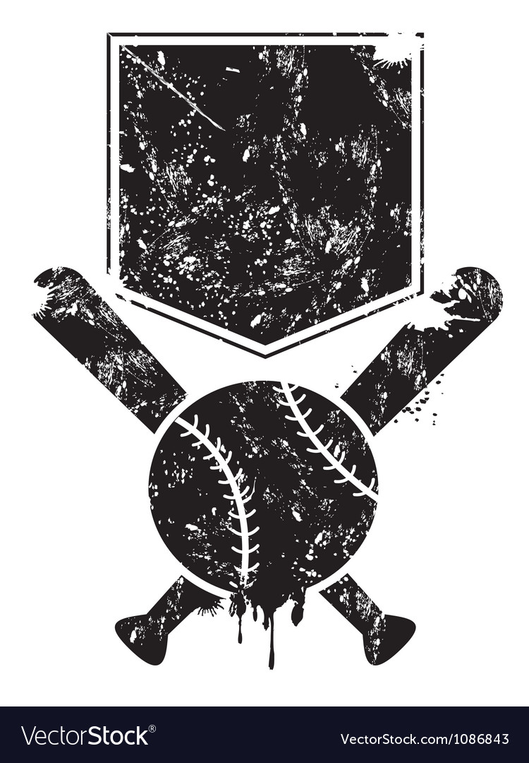 Grunge baseball background vector image