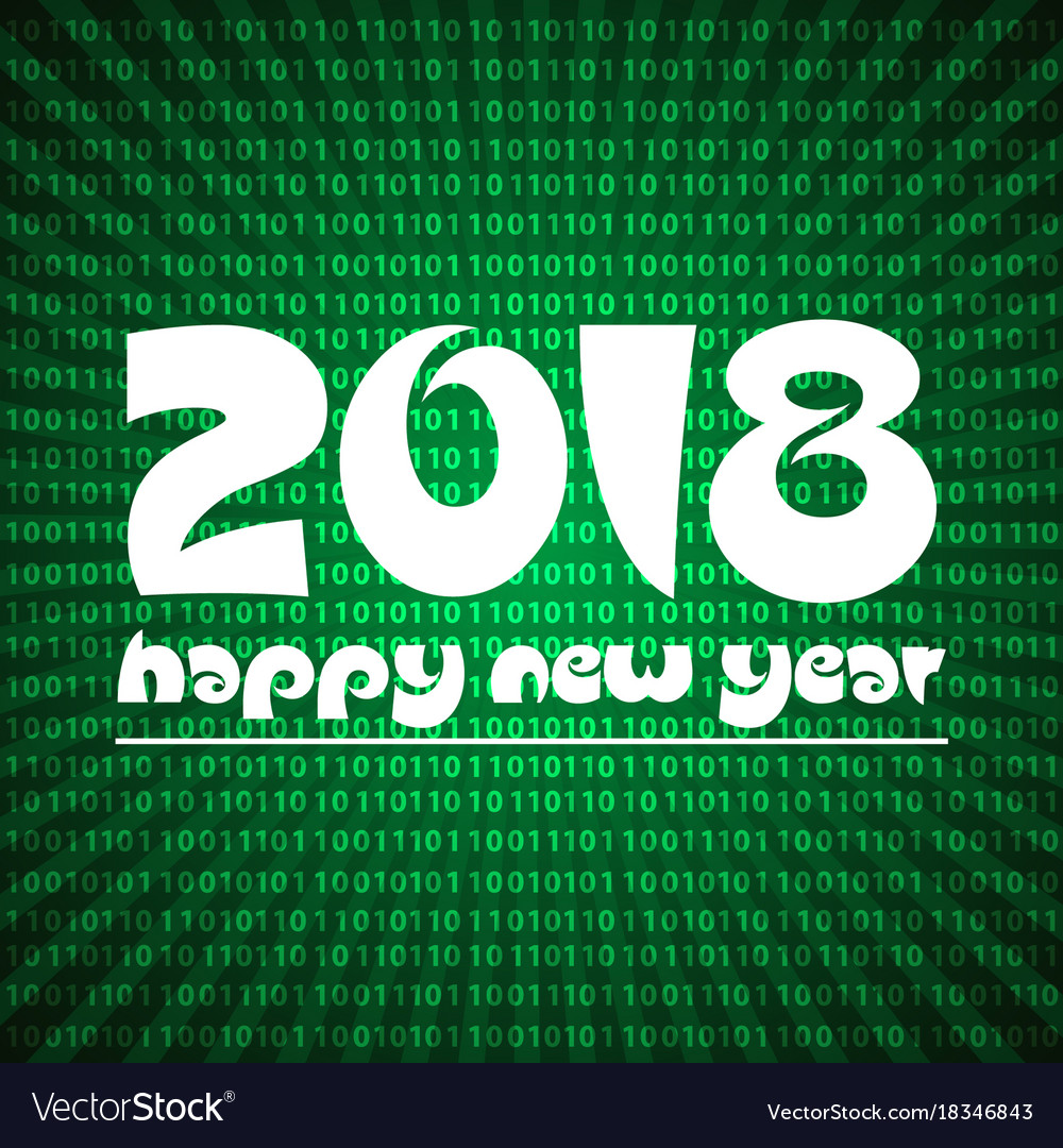 Happy new year 2018 on green stripped binary code