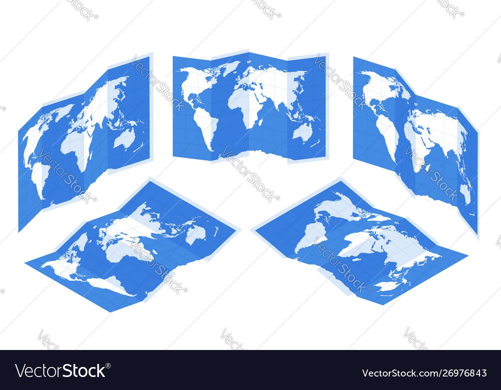 Isometric set maps gps navigation world map