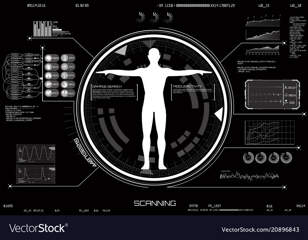 Medical infographic hud ui concept of body scan