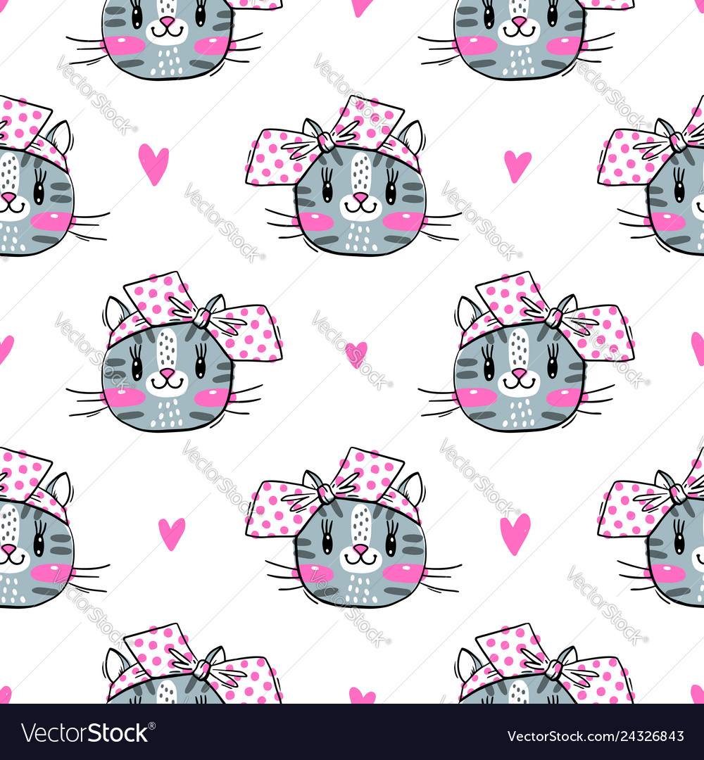 Seamless pattern with cute fase of cats and bows