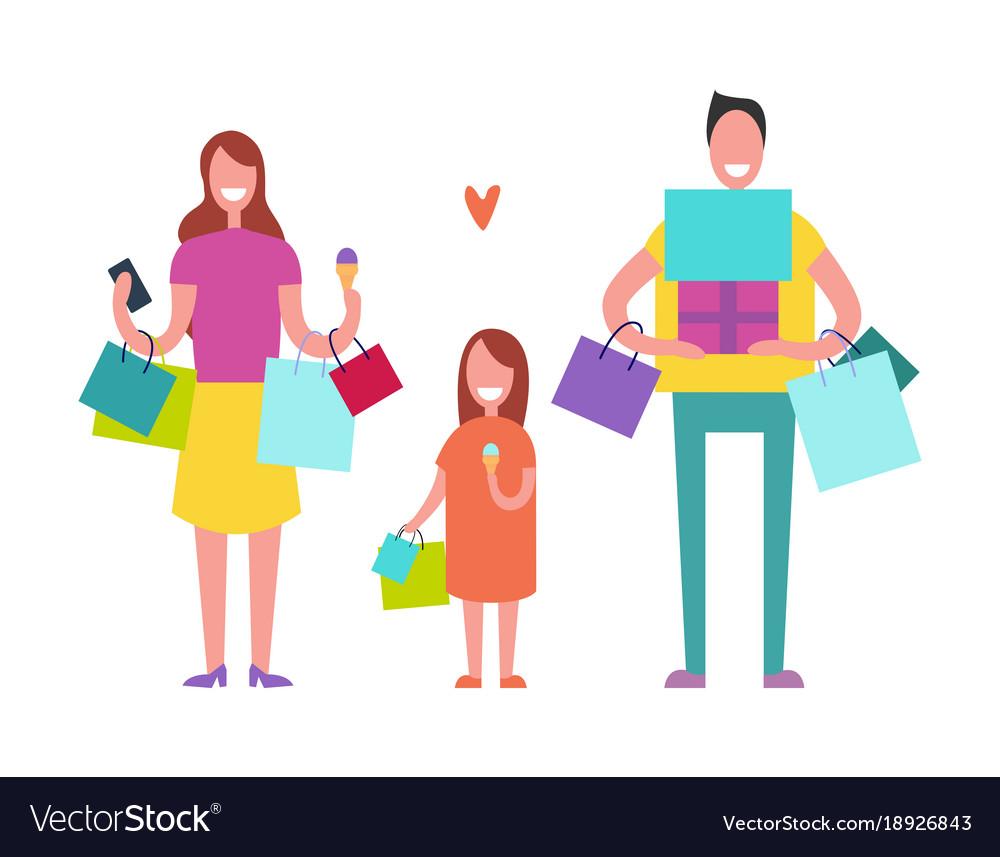 smiling family shopping royalty free vector image rh vectorstock com shopping victoria shopping victoria