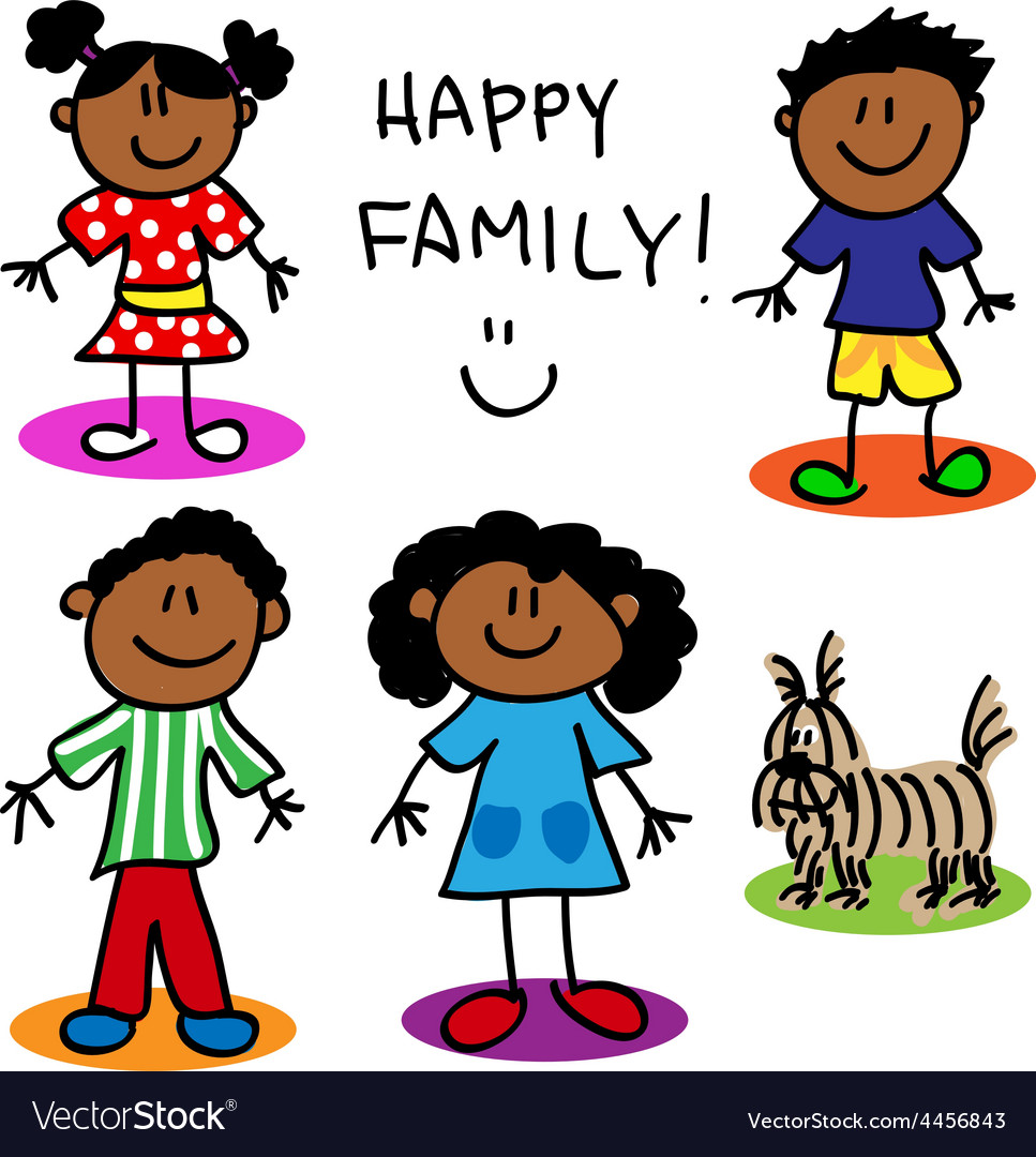 Stick Figure Black Family Royalty Free Vector Image-7107