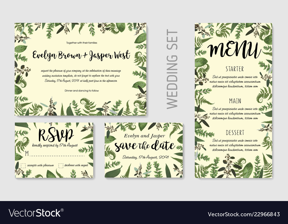 Wedding invite invitation menu rsvp thank you