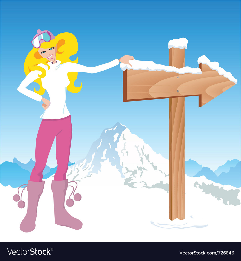Winter girl with direction sign