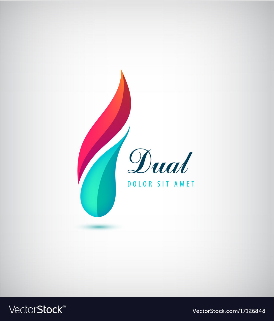 Abstract dual 2 parts vibrant logo