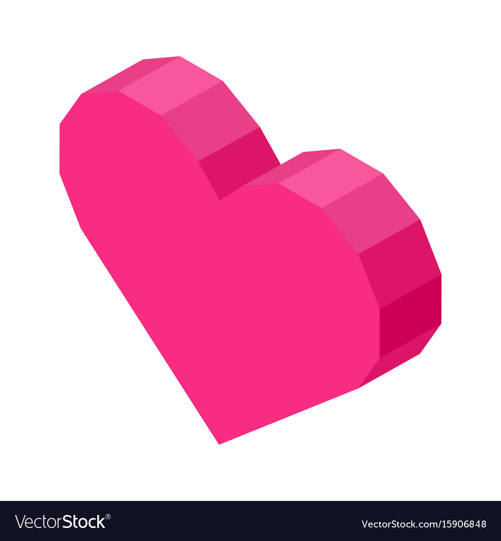 Bright pink angular heart computer icon isolated