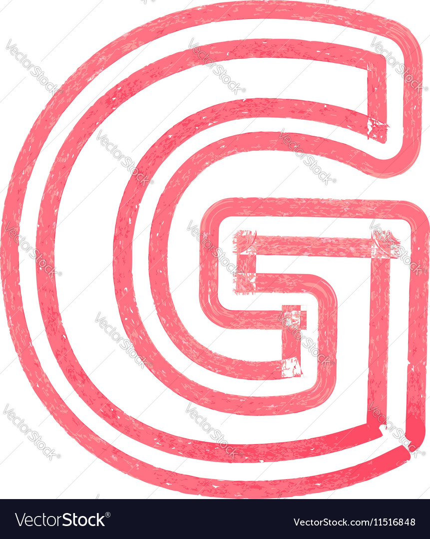 Capital letter G drawing with Red Marker