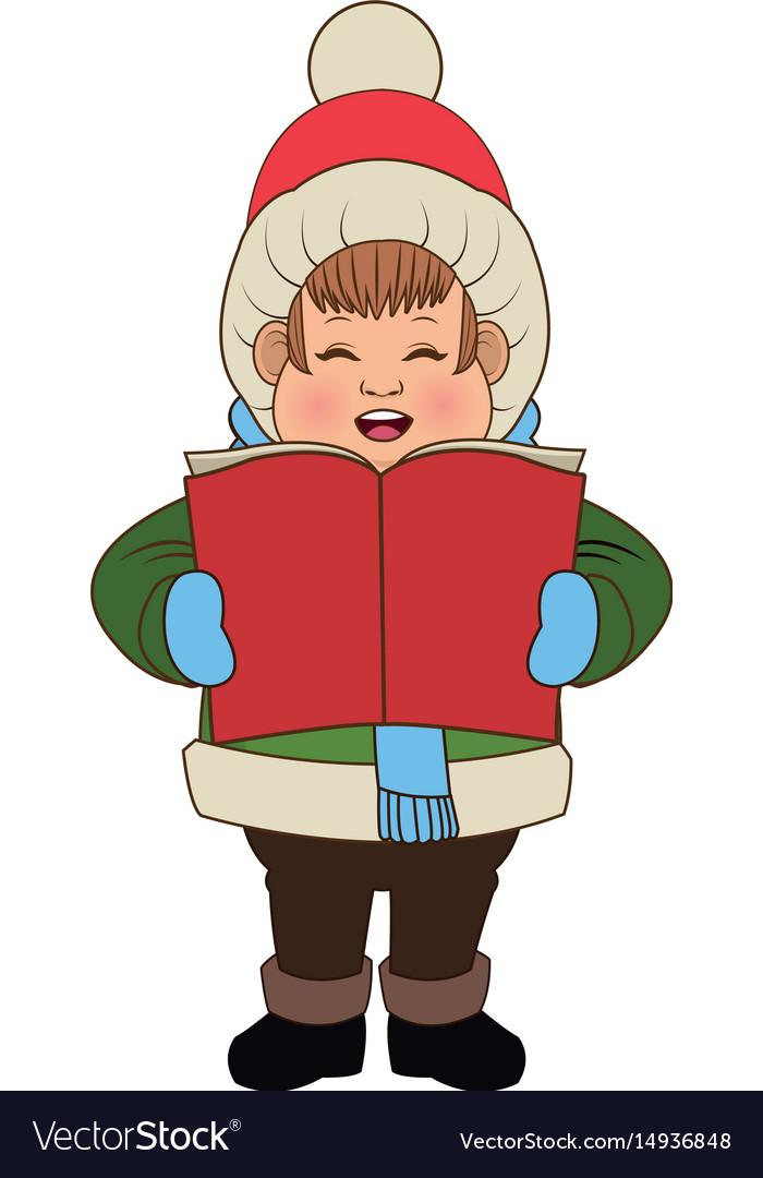 Character man carols singer at a winter clothes