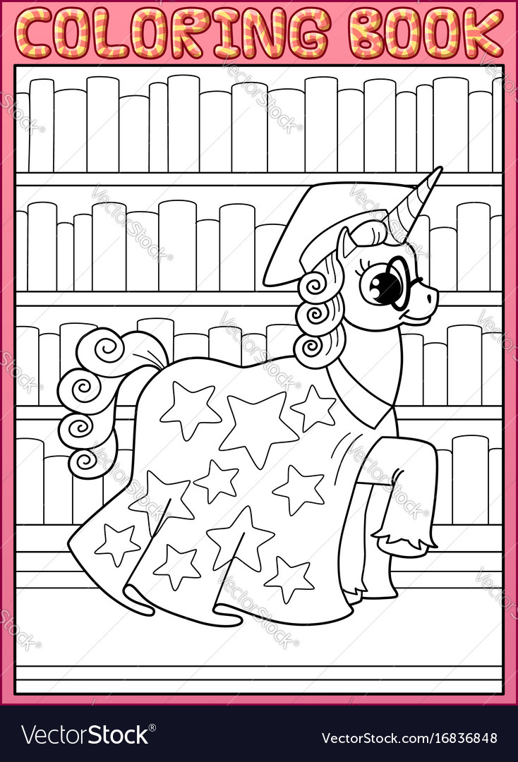 Coloring book page astronomy master unicorn horse vector image