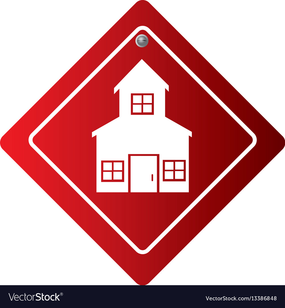 Diamond road sign with silhouette two floors house vector image