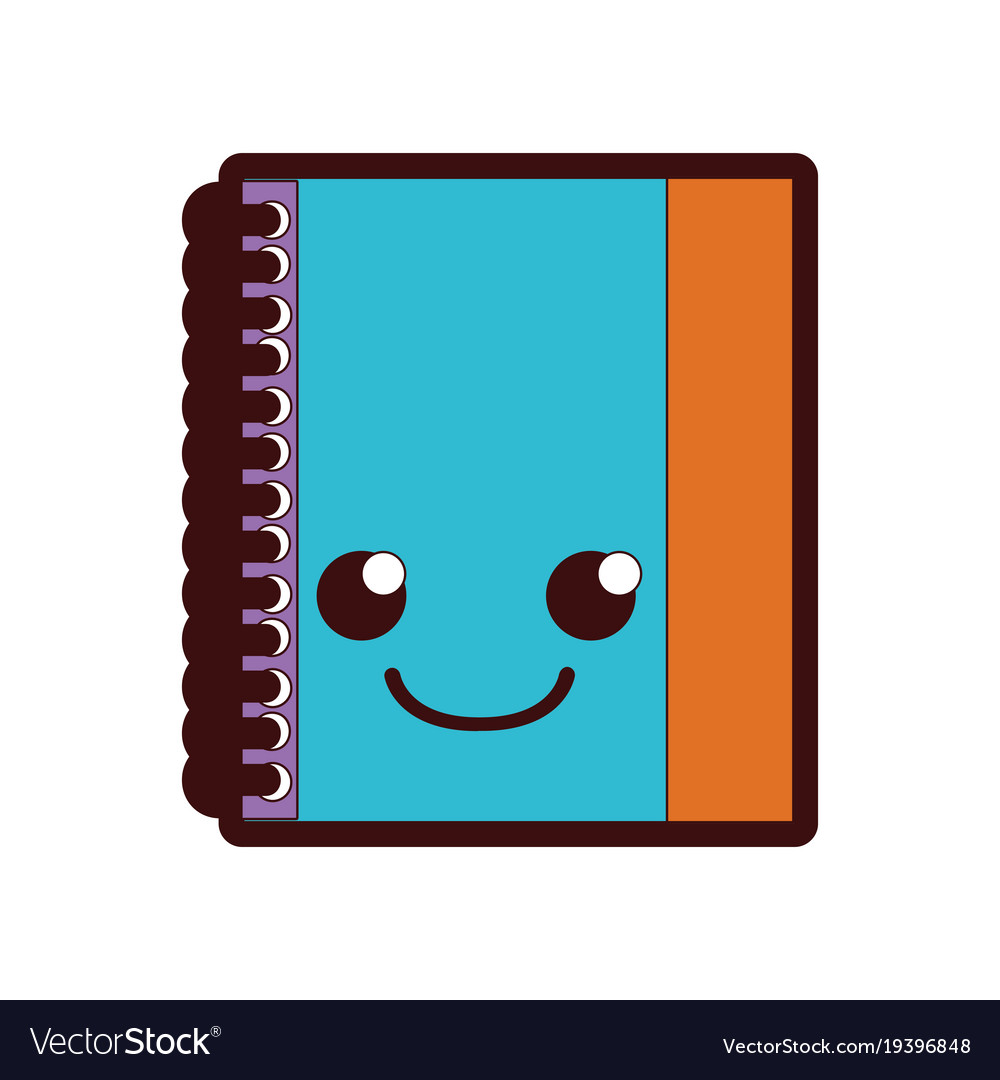 full color smile and cute notebook object kawaii vector image