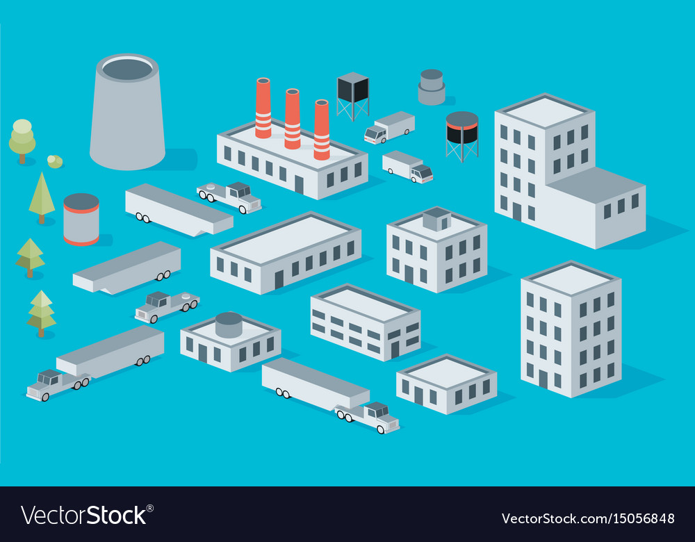 Isometric icon set factory production buildings