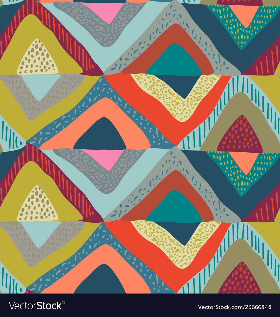 Seamless pattern with hand drawn colorful