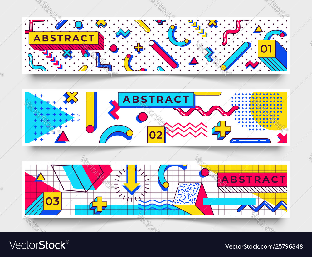 Three horizontal banners abstract 90s trends
