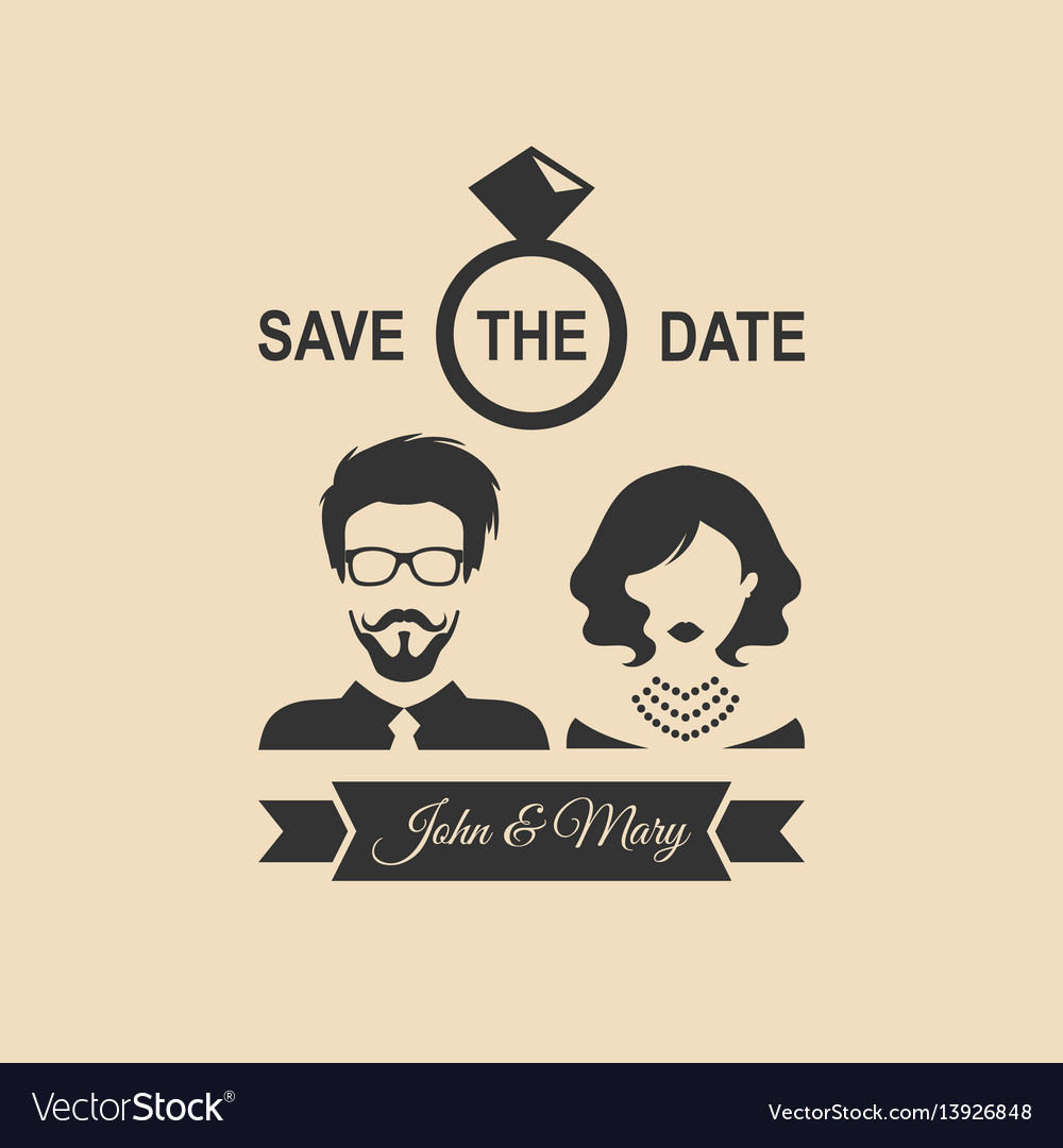 Vintage wedding romantic invitation card with vector image