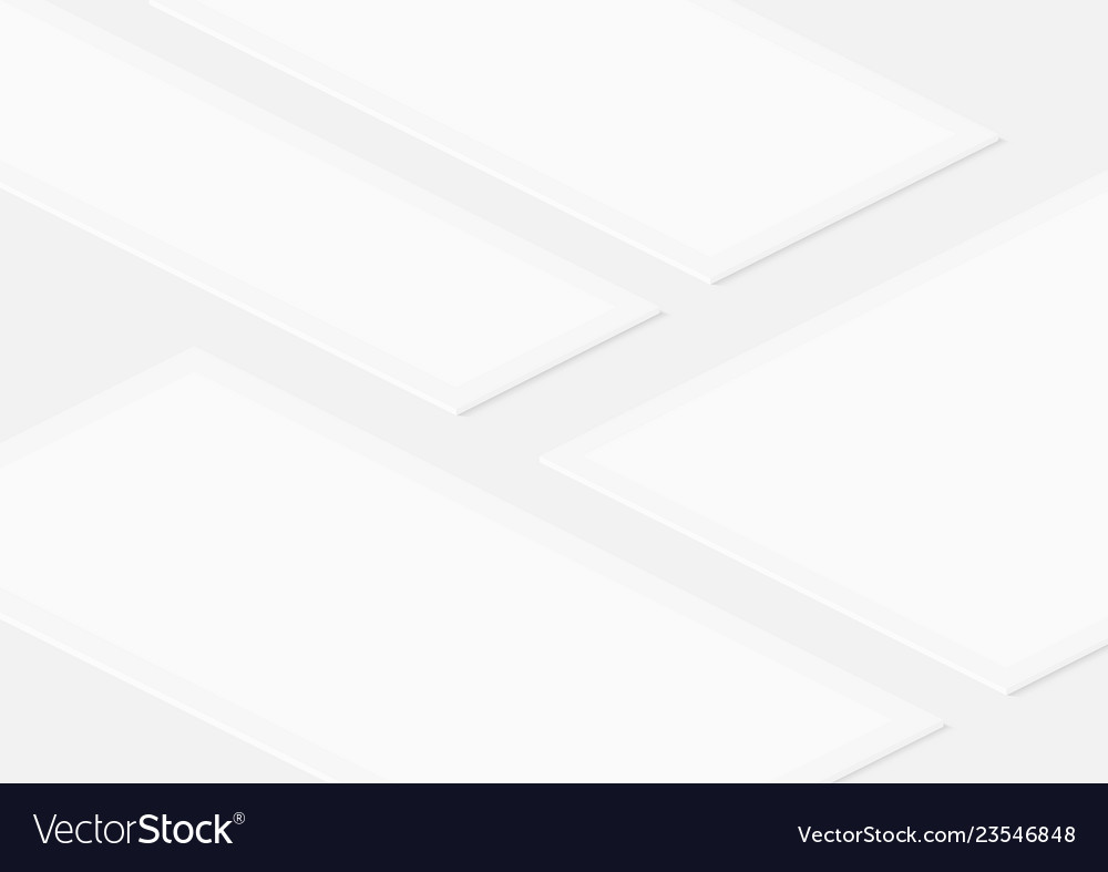 White isometric empty frames template for