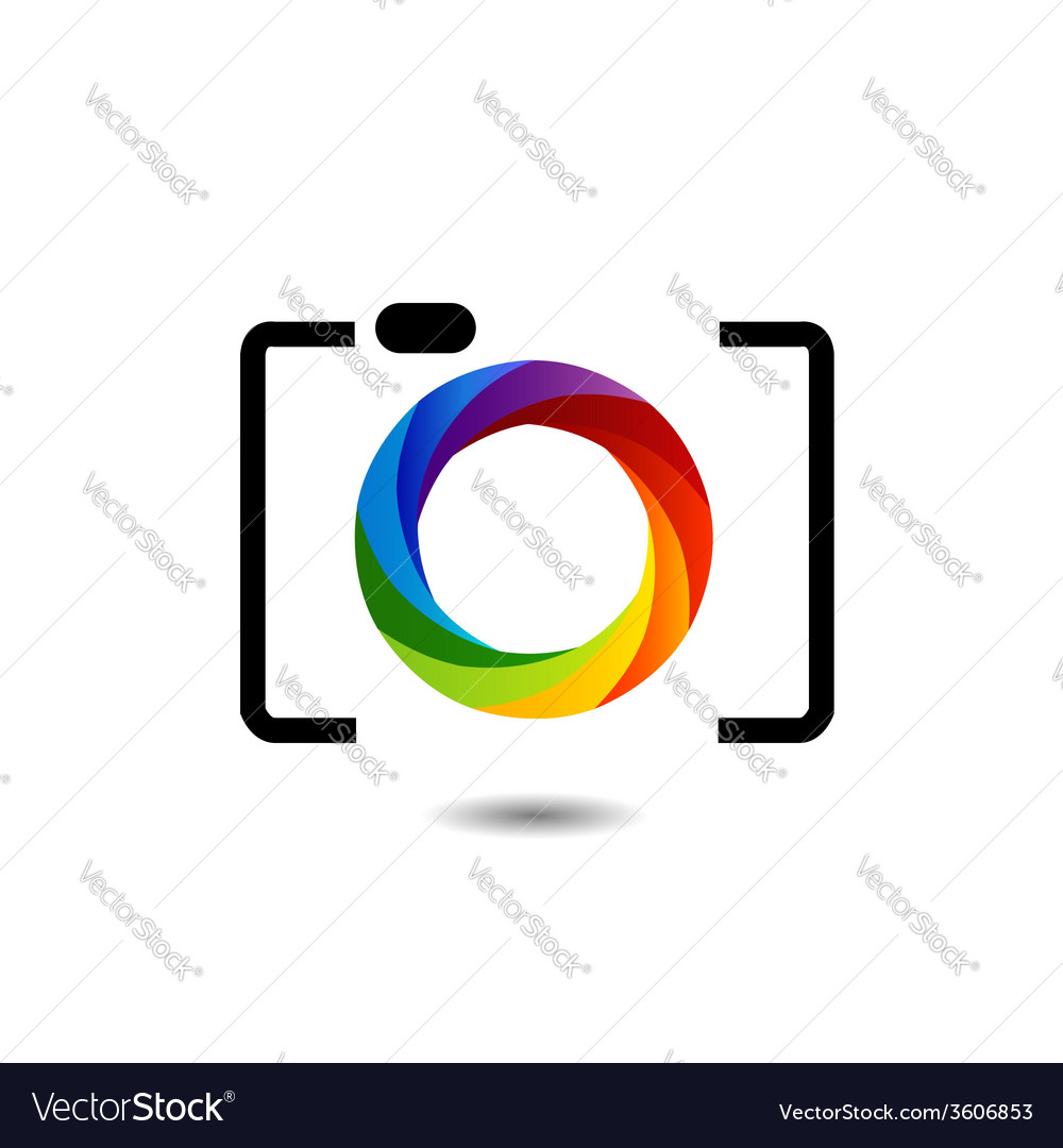 camera with colorful aperture photography logo vector image rh vectorstock com photographer vector photography vectors free