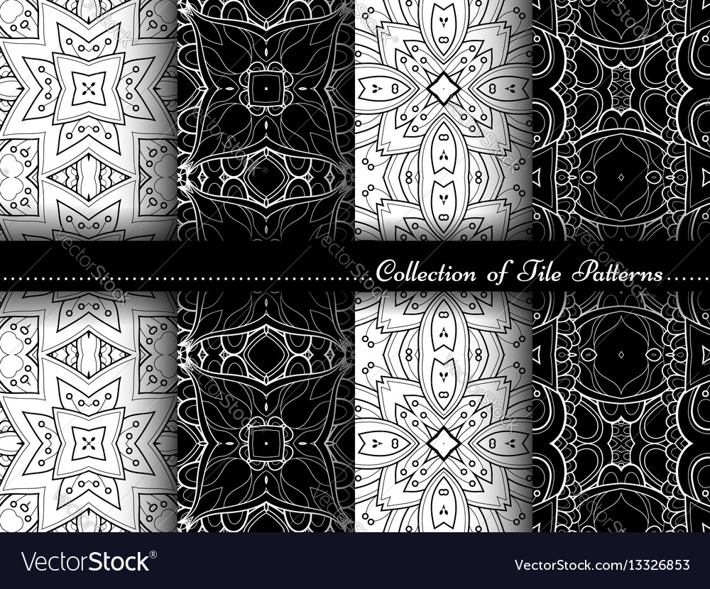 Collection black and white seamless vintage vector