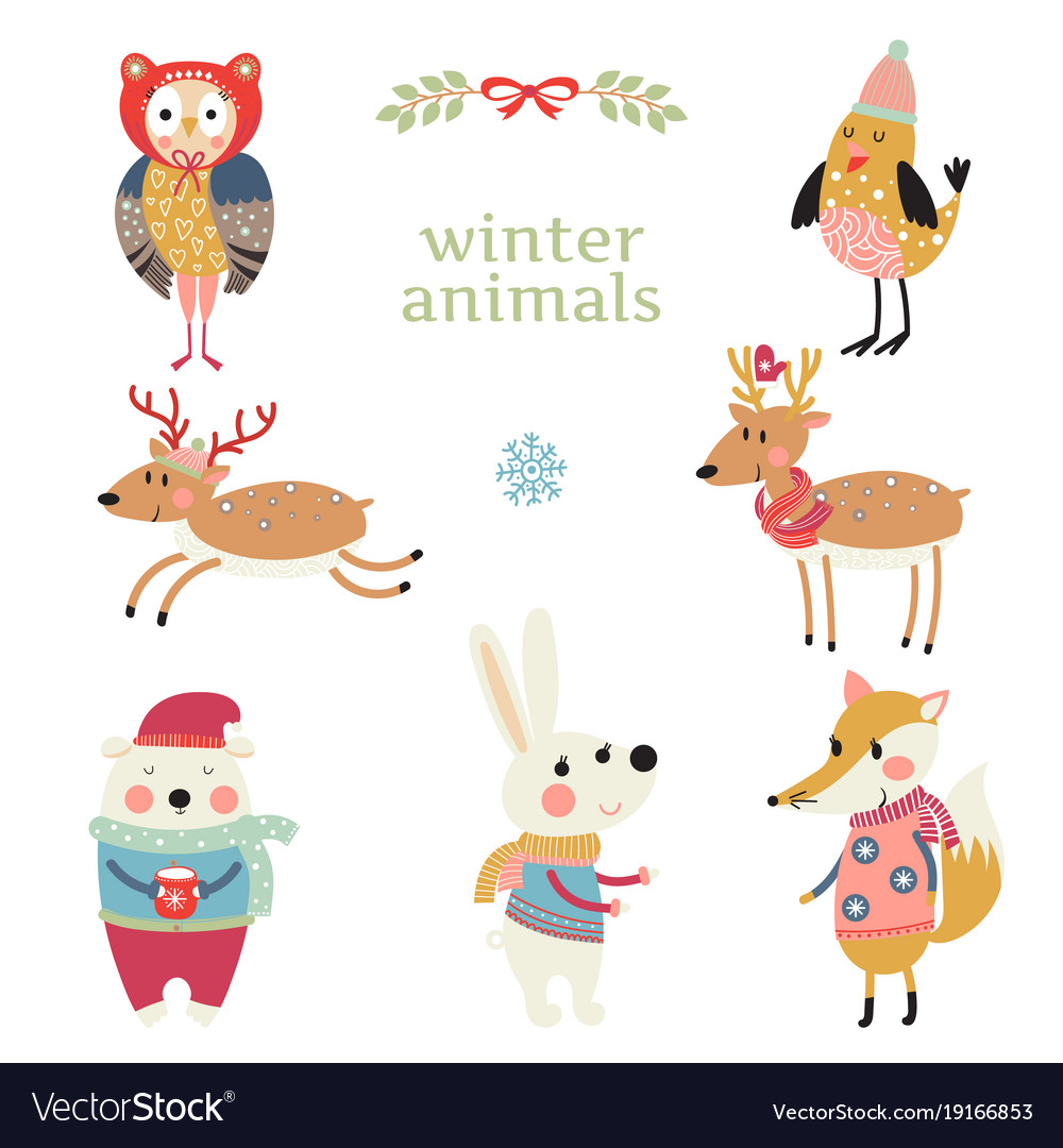 Collection of animals in winter clothing