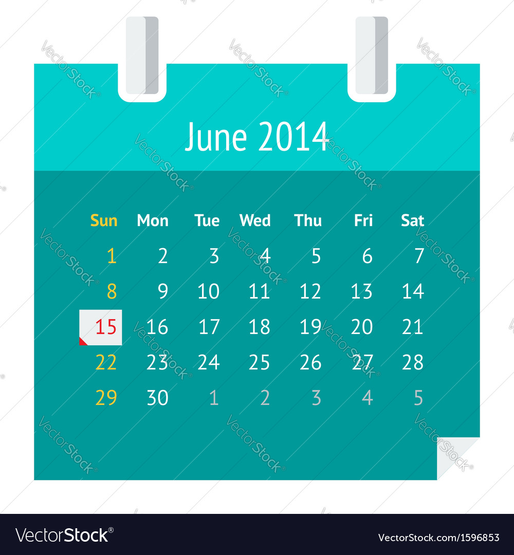 Flat calendar page for June 2014