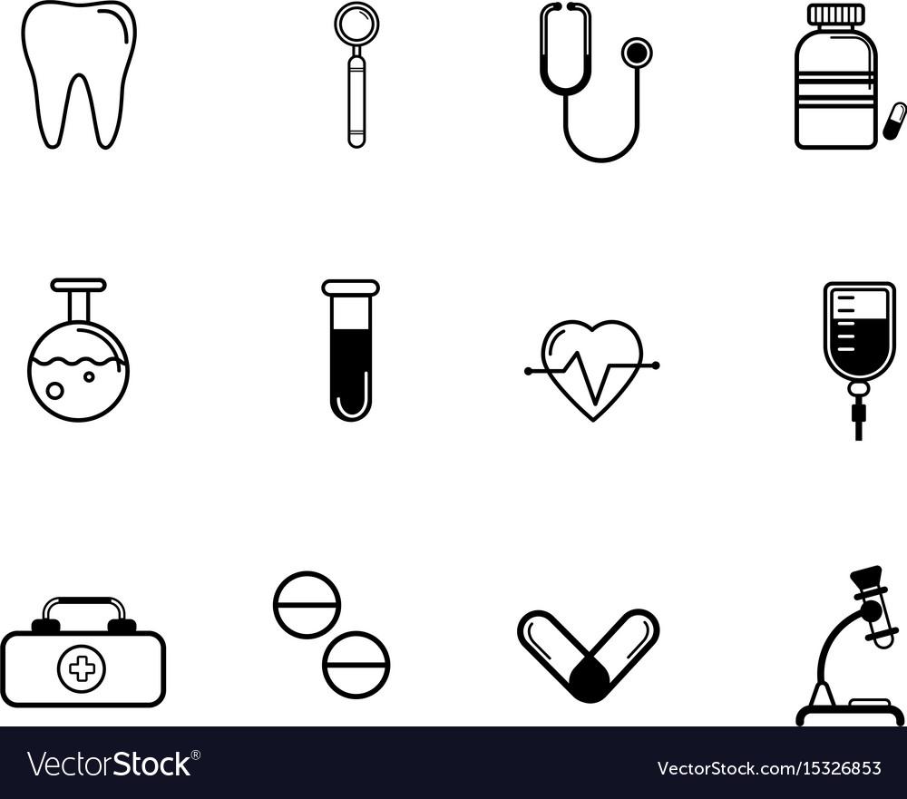 Flat medicine icons set vector image