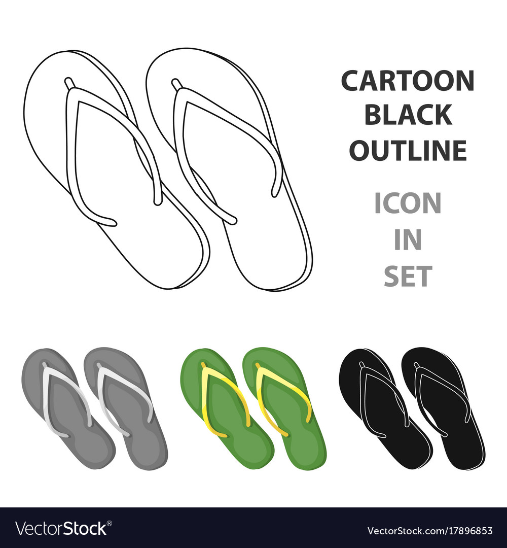 33e5b12777c8 Green flip-flops icon in cartoon style isolated on vector image