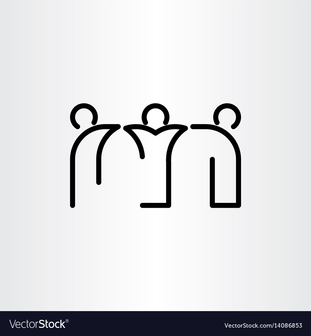 People friends black line icon vector image