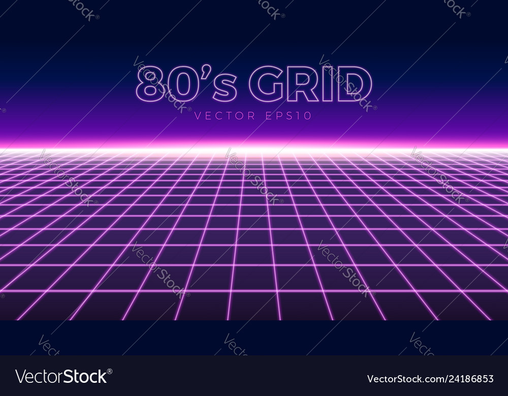 Perspective grid retro 80s design element neon