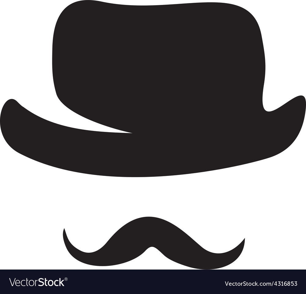 Retro hat and moustache silhouettes vector image