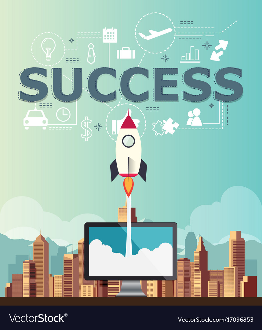Rocketship on computer for startup success media vector image