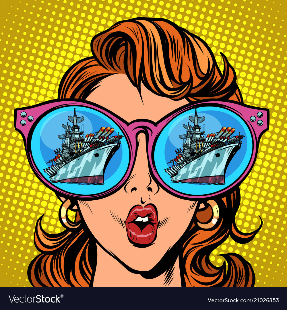 Woman with sunglasses warship battleship cruiser