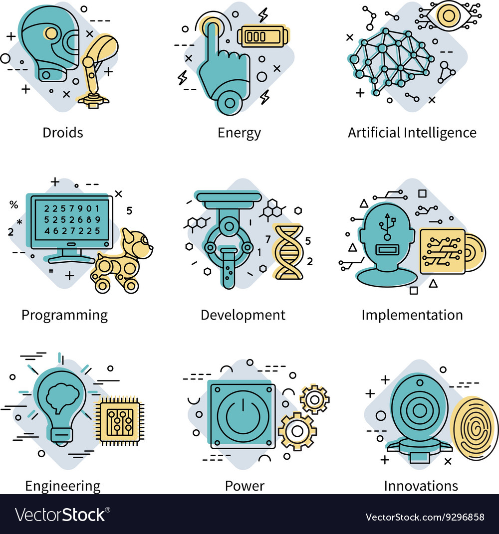 Artificial Intelligence Colored Icon Set