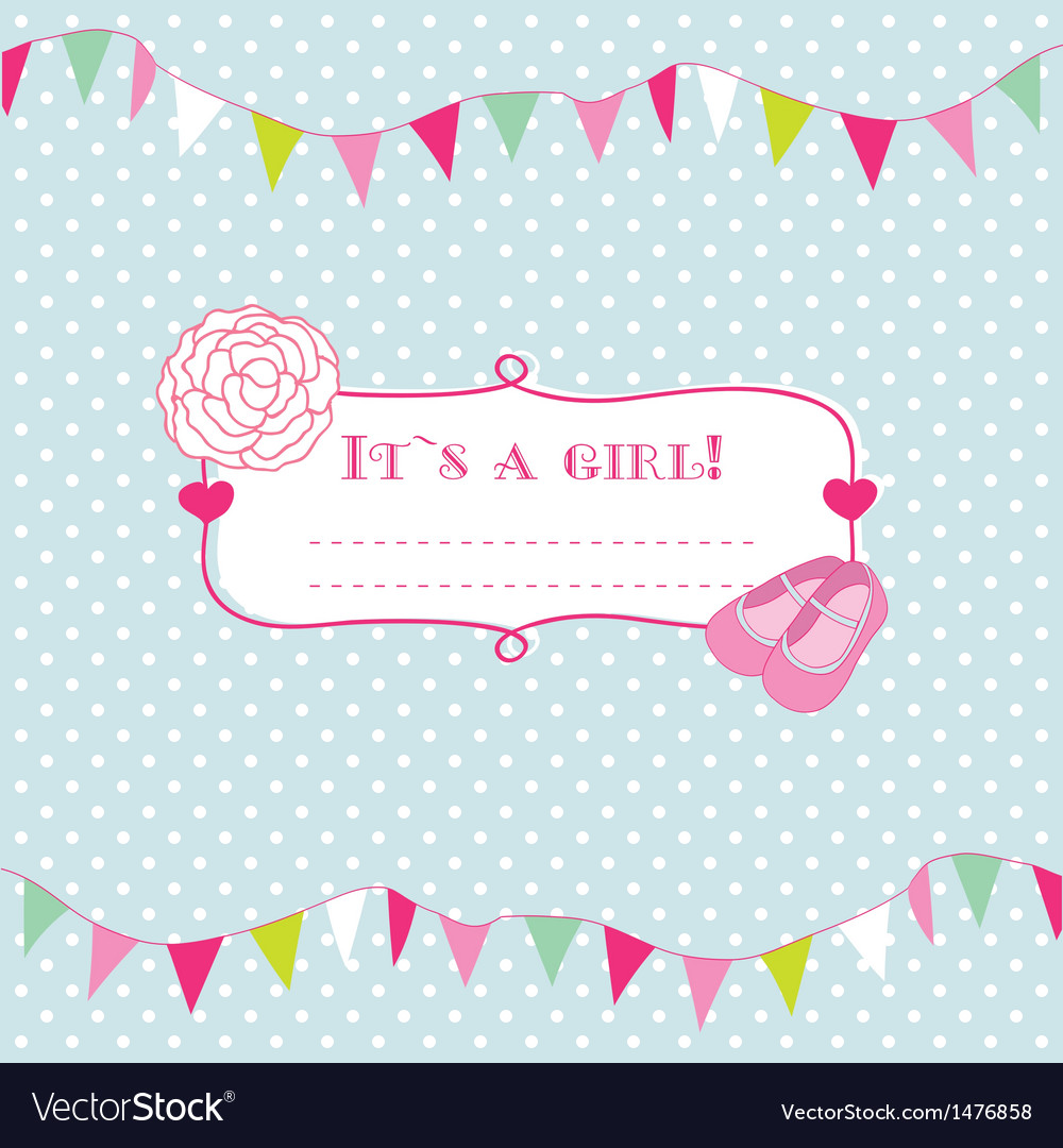 Baby girl shower card with foot steps and frame