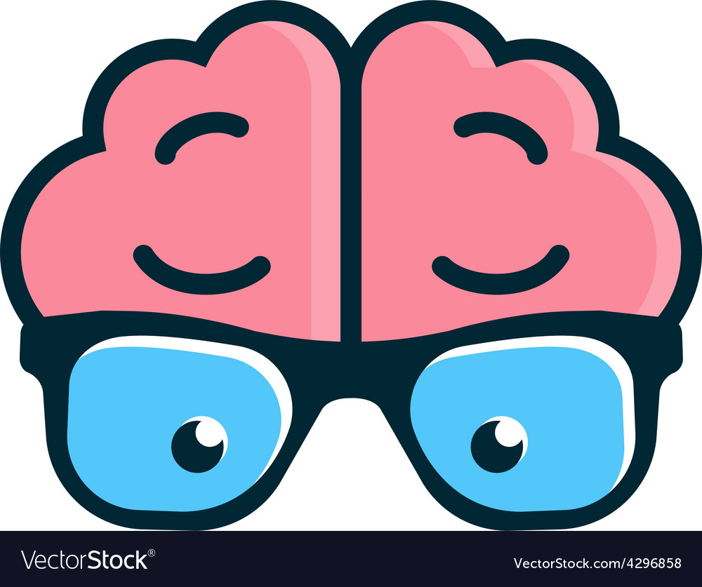 Brain with glasses Science logo vector image