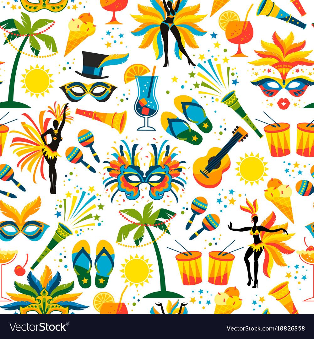 Brazilian Carnival Seamless Pattern