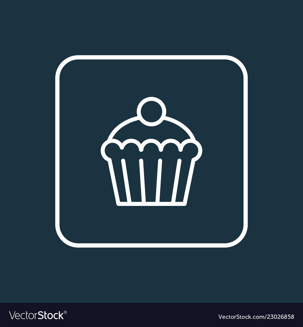 Cupcake icon line symbol premium quality isolated