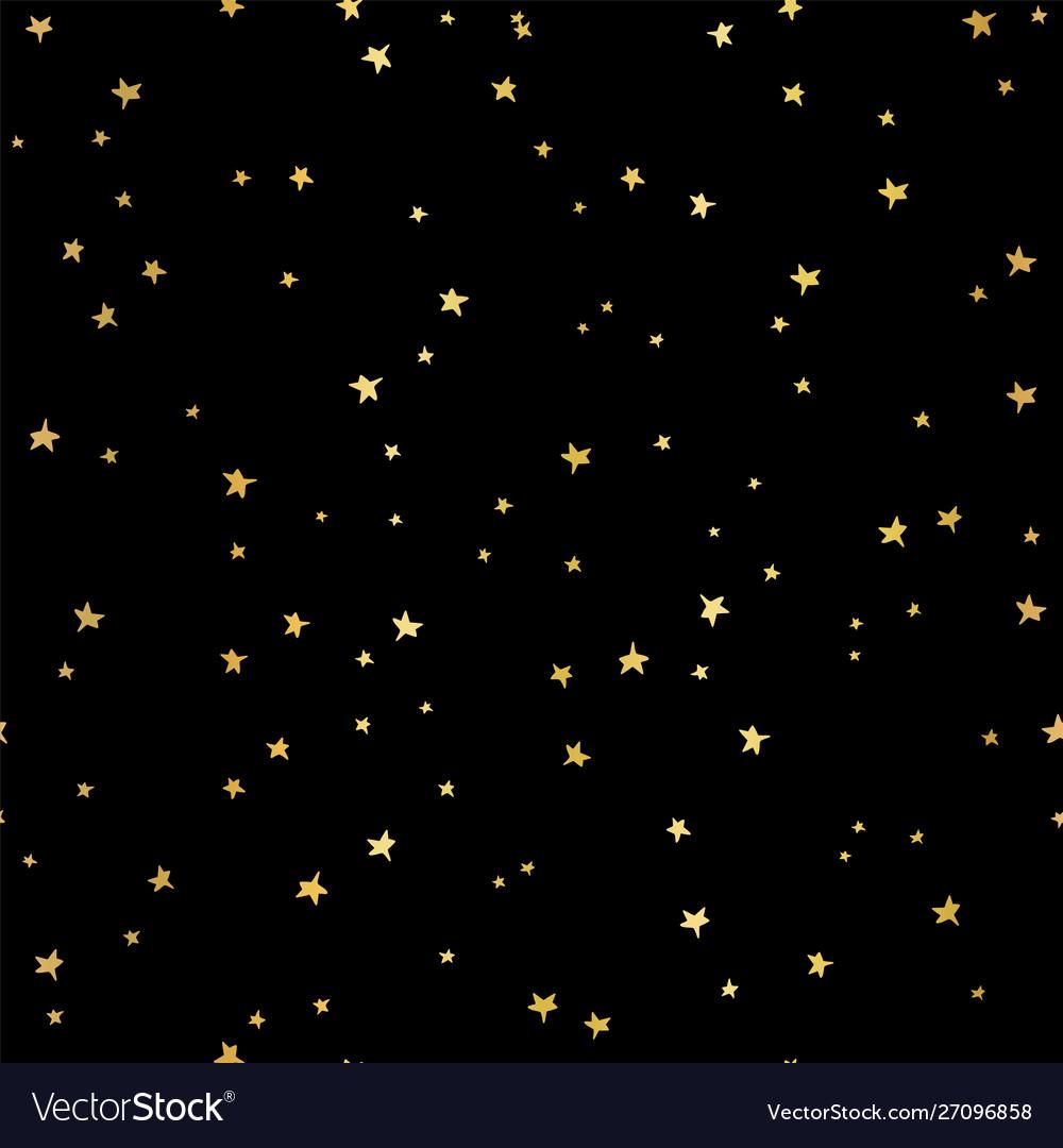 Gold foil stars seamless pattern hand