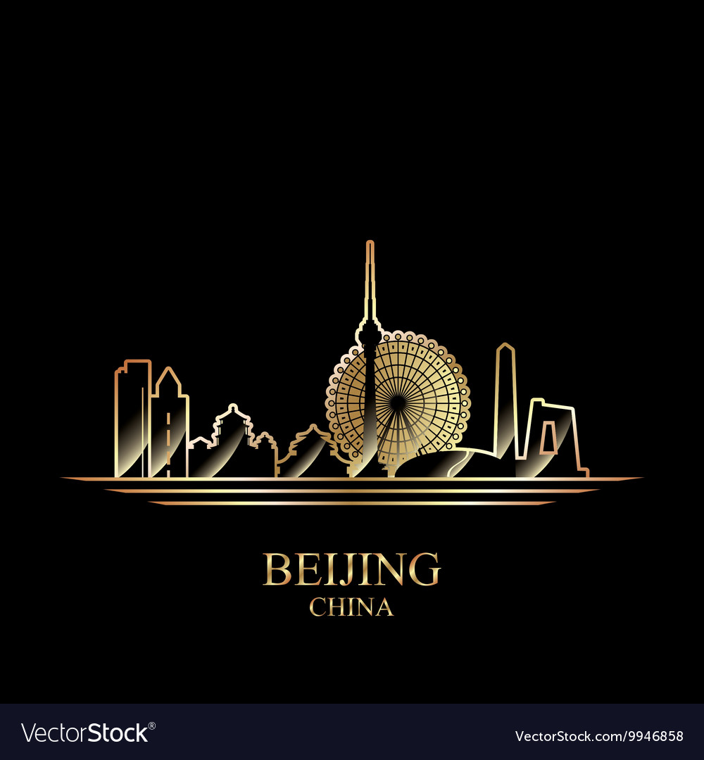 Gold silhouette of Beijing on black background