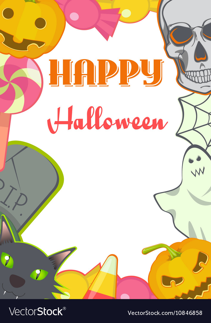 Halloween cartoon Signs and Symbols card frame