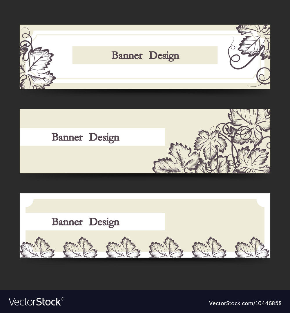 Horizontal banner set with grape leaves vector image
