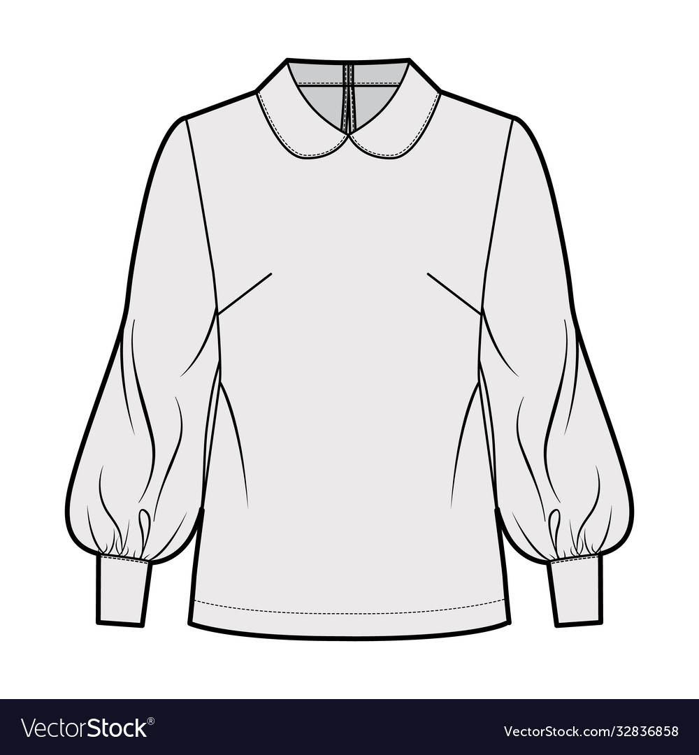 Long bishop sleeve blouse technical fashion