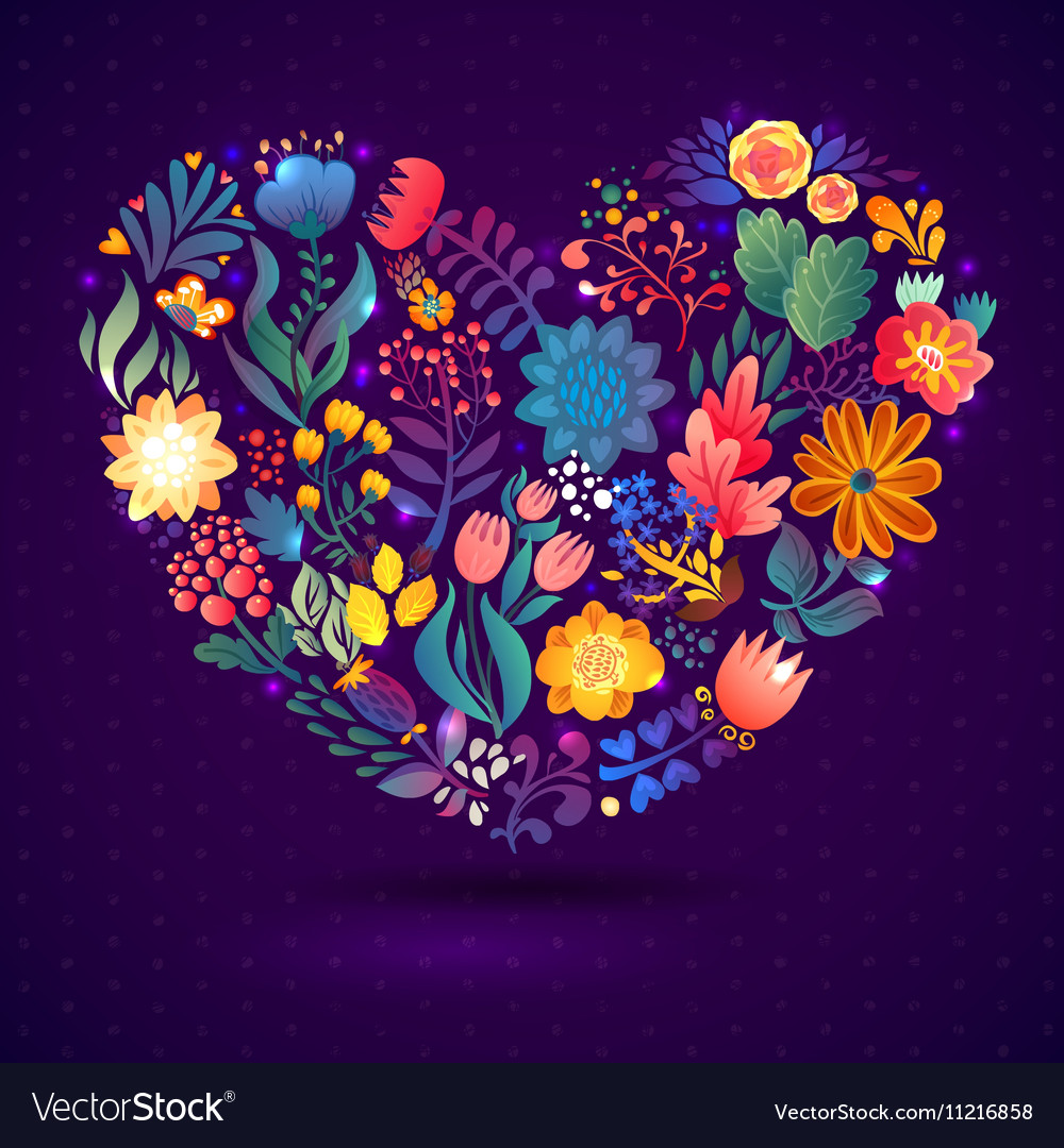 Love card with floral bouquet vector image