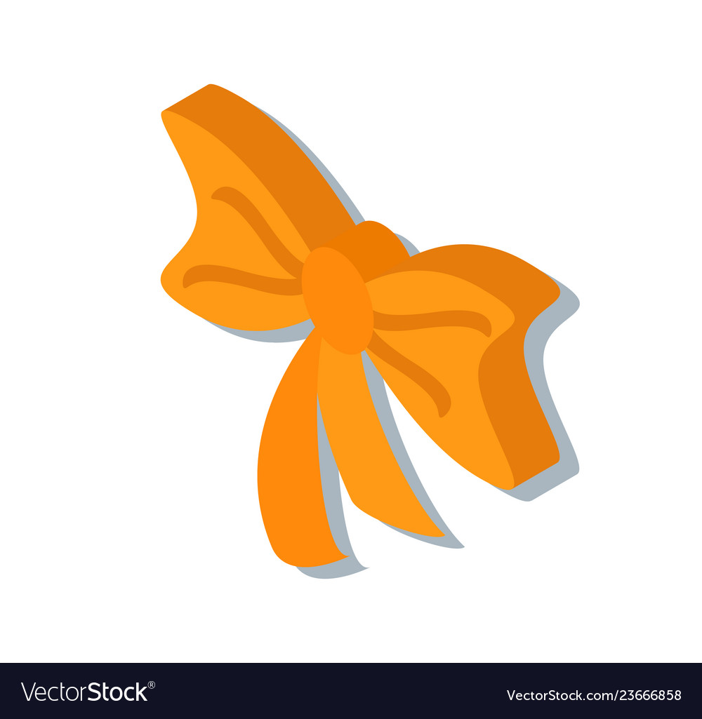 Ribbon tied curled bow isolated 3d icon in color