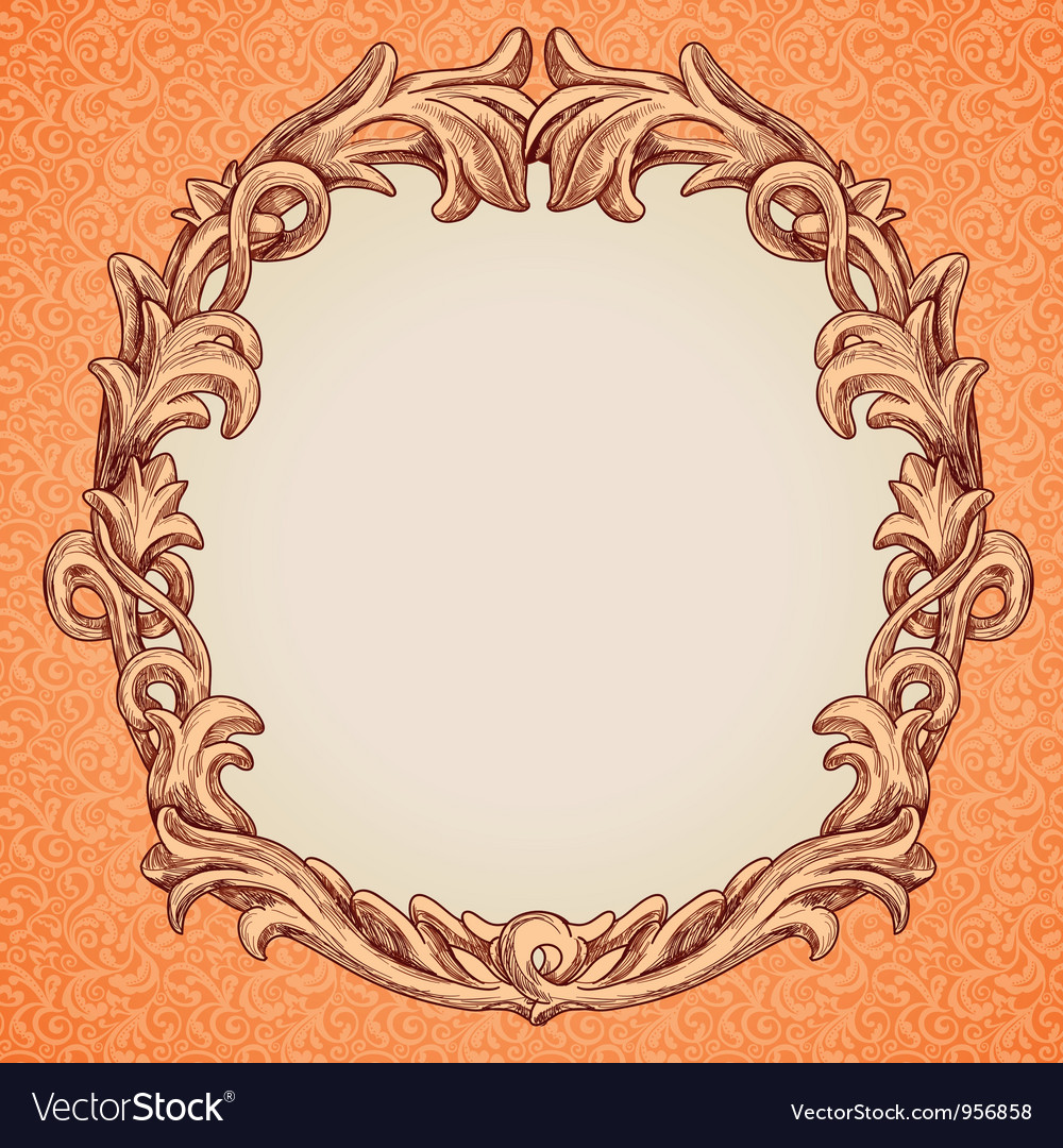 Round frame in vintage style