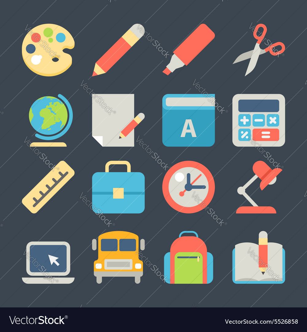School and Education Flat Icons for Web Mobile