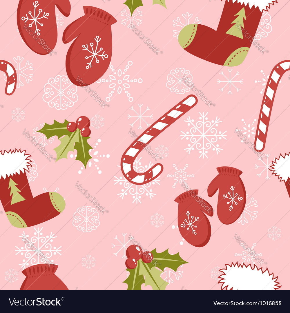 seamless pattern with christmas mittens vector image - Christmas Mittens