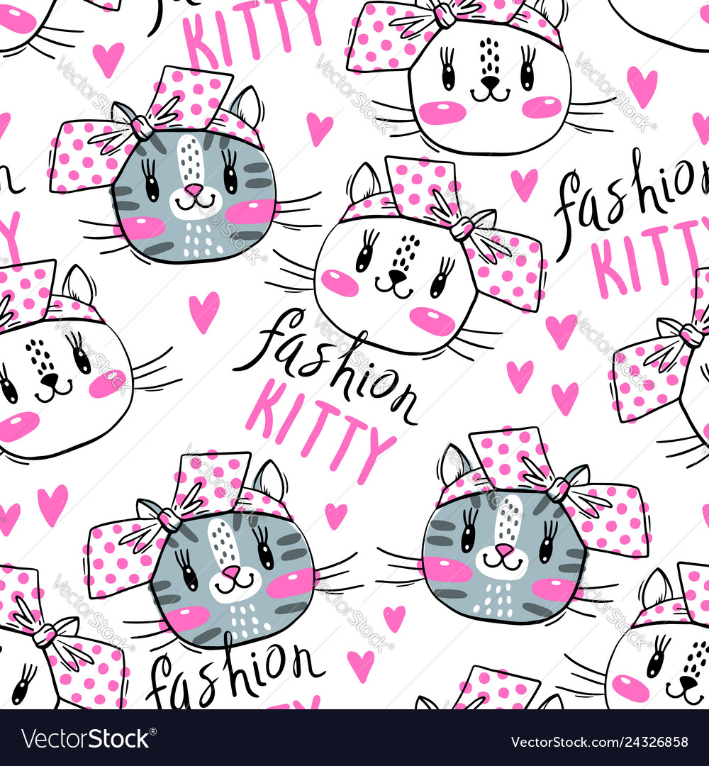 Seamless pattern with cute fase cats and bows vector