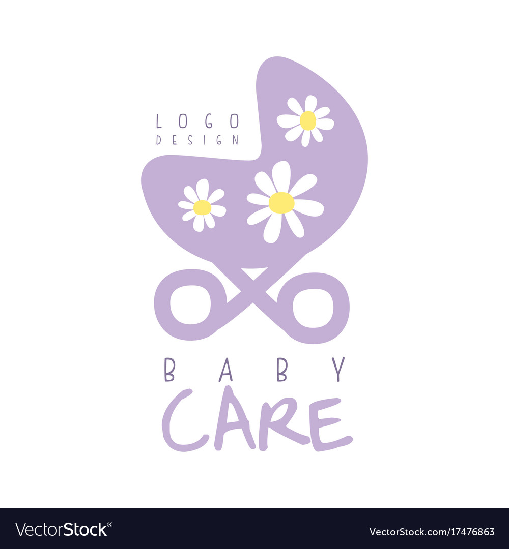 Baby care logo design emblem with purple baby